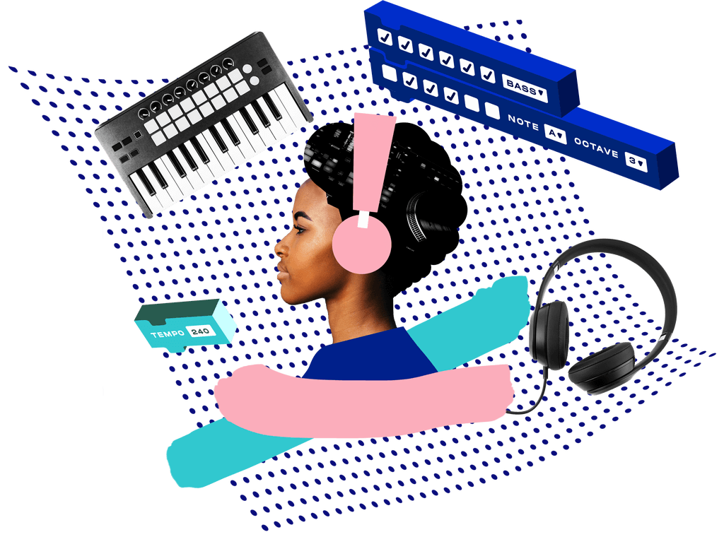 A woman with a headset surrounded by instruments