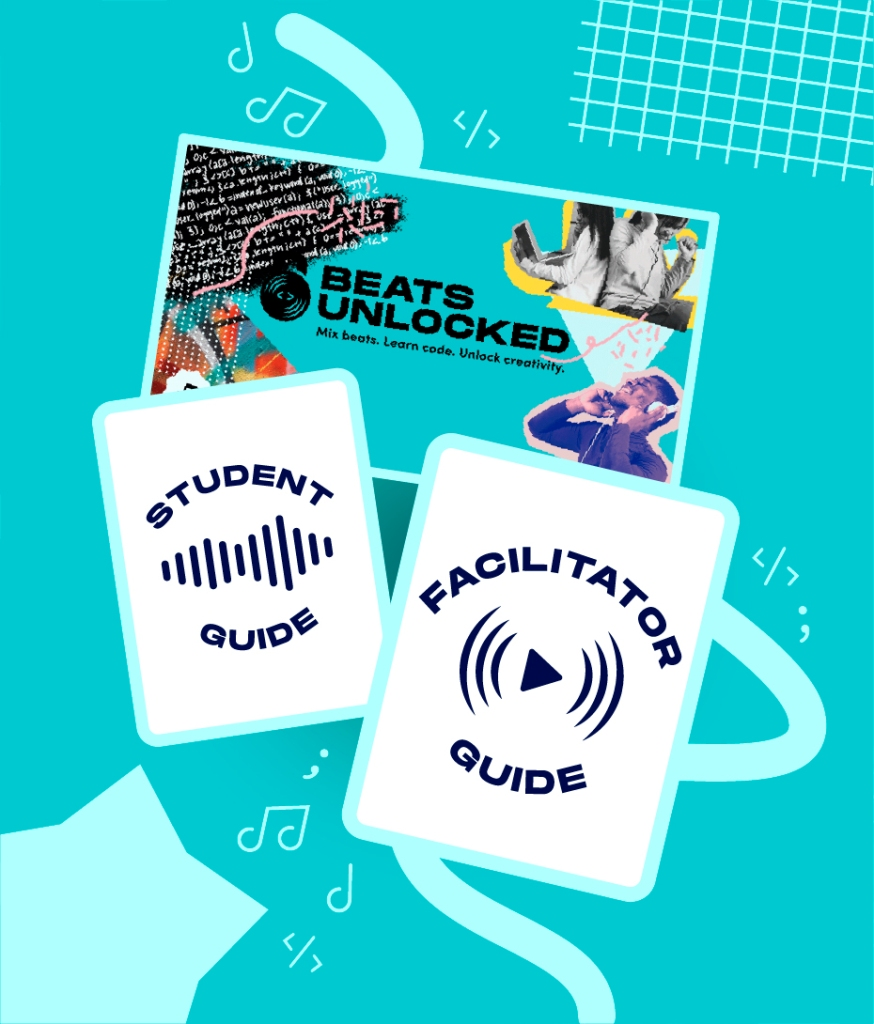 A series of images representing the student guide, facilitator guide and slide deck